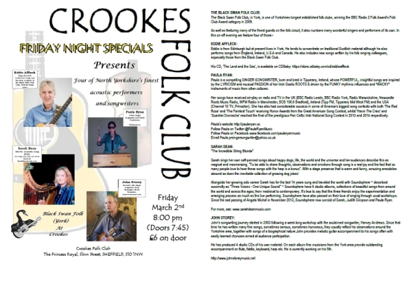 Crookes Folk Club Flyer.